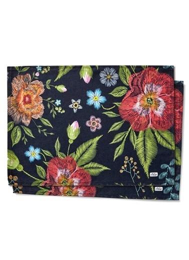 The Mia Floral Amerikan Servis 2 Li Set A - 50 x 30 Cm - Siyah Çiçekli Siyah
